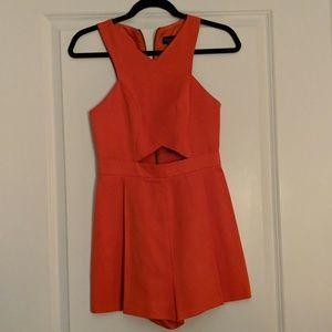 Topshop Orange  Cut Out Shorts romper